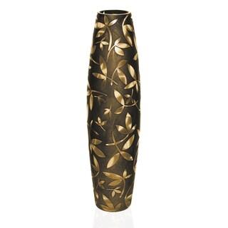 Fij European Mouth Blown Glass Sand Blasted Antique Gold 20-inch Vase