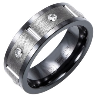 Ceramic and Tungsten 8mm 1/5ct TDW Diamond Band
