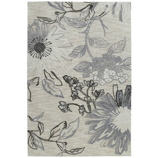 Copia Grey Floral 9x12 Polyester Rug