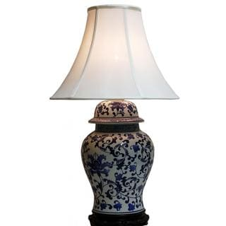 Canton Large Traditional Blue and White Swirl Floral Porcelain Table Lamp