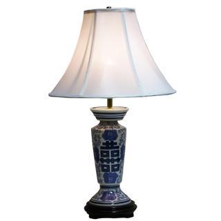 Crown Lighting 1-light Blue and White Column Table Lamp