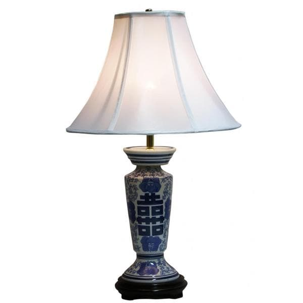 Crown Lighting 1-light Blue and White Column Table Lamp