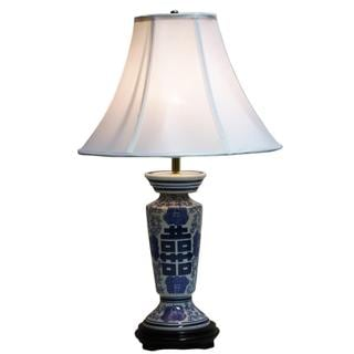 crown lighting 1 light blue and white column table lamp. Black Bedroom Furniture Sets. Home Design Ideas
