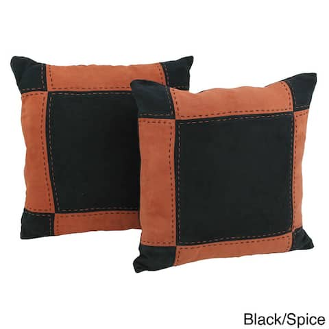 Blazing Needles Patchwork Micro-Suede Throw Pillows (Set of 2)