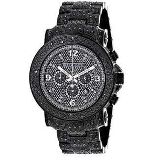 Luxurman Men's 2ct Pave-Set Black Diamond Watch Metal Band plus Extra Leather Straps