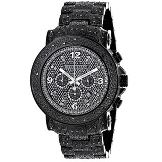 Luxurman Men's 2ct Pave-Set Black Diamond Watch Metal Band plus Extra Leather Straps
