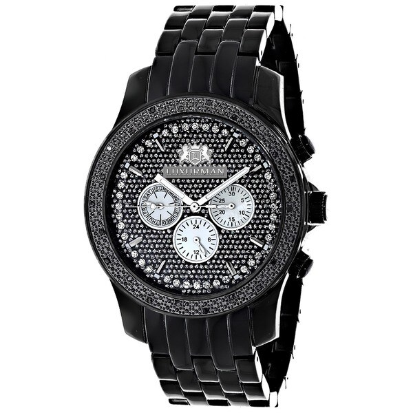 Luxurman Men's 1/4ct Black Diamond Chronograph Watch Metal Band plus Extra Leather Straps