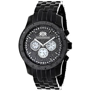 Luxurman Men's 1/4ct Black Diamond Chronograph Watch Metal Band plus Extra Leather Straps