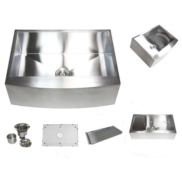 Stainless Steel Farmhouse Sink 36 Inch : 36-inch Stainless Steel Farmhouse Single Bowl Curve Apron Kitchen Sink ...