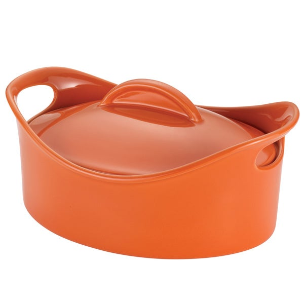 Rachael Ray Orange Stoneware 2.5-Quart Oval Casserole Pan
