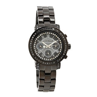 Luxurman Oversized Women's 2 1/6ct Black Diamond Watch