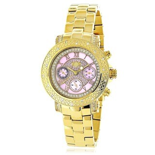 Luxurman Women's Pink Dial Yellow Gold Plated 1/3ct Diamond Watch Metal Band plus Extra Leather Stra
