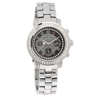 Luxurman Women's 2ct Diamond Plated Platinum Watch Metal Band plus Extra Leather Straps