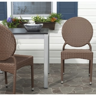 Safavieh Rural Woven Dining Valdez Brown Indoor Outdoor Stackable Dining Chairs (Set of 2)
