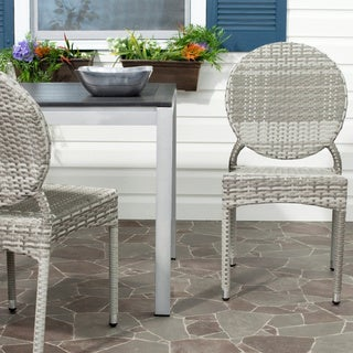 Safavieh Rural Woven Dining Valdez Grey Indoor Outdoor Stackable Dining Chairs (Set of 2) - 17 x 22.4 x 34.6