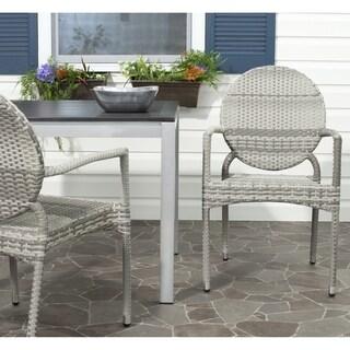 Safavieh Rural Woven Dining Valdez Grey Indoor Outdoor Stackable Arm Chairs (Set of 2)