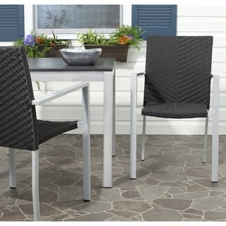 Safavieh Rural Woven Dining Cordova Black Stackable Indoor Outdoor Arm Chairs (Set of 2)