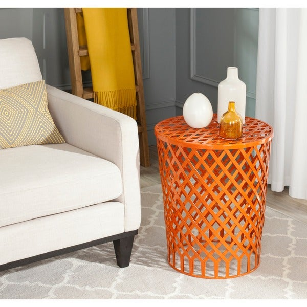 Safavieh thor orange welded iron strips stool free for Orange outdoor side table