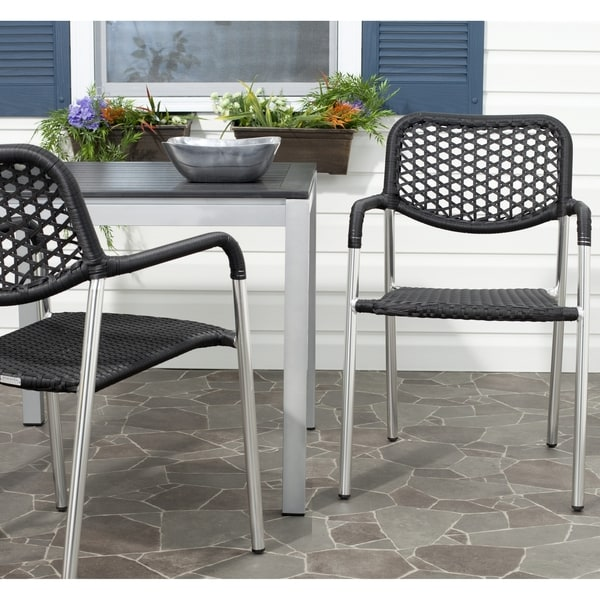 Safavieh Rural Woven Dining Sitka Black Indoor Outdoor Stackable Arm Chairs (Set of 2)