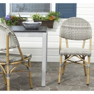 Safavieh Rural Woven Dining Barrow Grey Indoor Outdoor Stackable Dining Chairs (Set of 2)