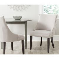 Safavieh En Vogue Dining Afton Taupe Linen Fabric Dining Chairs (Set of 2) - 0