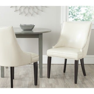 Beau Safavieh En Vogue Dining Afton Flat Cream Bicast Leather Dining Chairs (Set  Of 2)