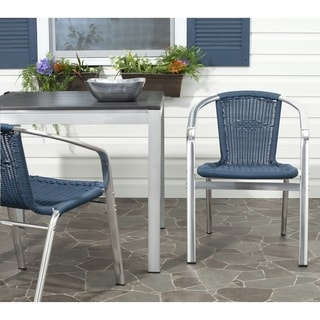 Safavieh Rural Woven Dining Wrangell Blue Indoor Outdoor Stackable Arm Chairs (Set of 2)