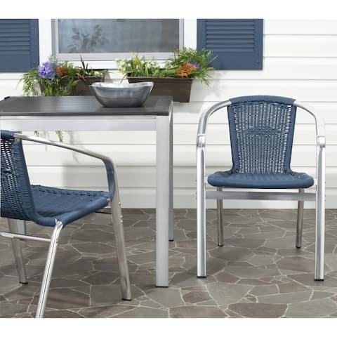 SAFAVIEH Wrangell Blue Indoor Outdoor Stackable Chairs (Set of 2)