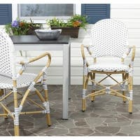 Safavieh Dining Rural Woven Hooper Grey/ White Indoor/ Outdoor Stackable Arm Chairs (Set of 2)