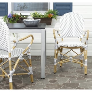 Safavieh Rural Woven Dining Hooper Grey/ White Indoor Outdoor Stackable Arm Chairs (Set of 2) - 20.8 x 21.6 x 35