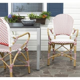Safavieh Rural Woven Dining Hooper Red/ White Indoor Outdoor Stackable Arm Chairs (Set of 2)