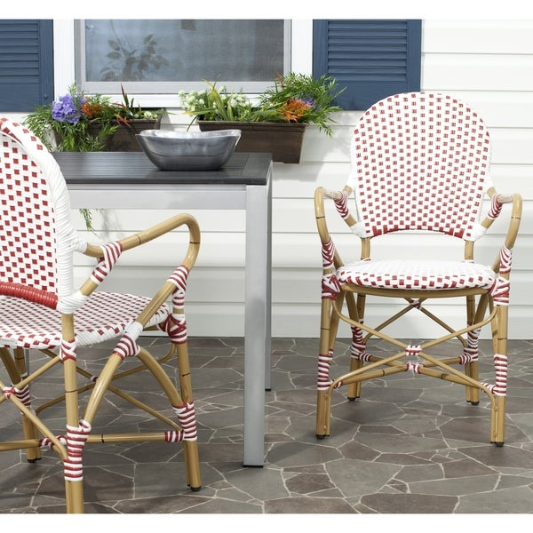 Safavieh Rural Woven Dining Hooper Red/ White Indoor Outdoor Stackable Arm  Chairs (Set Of