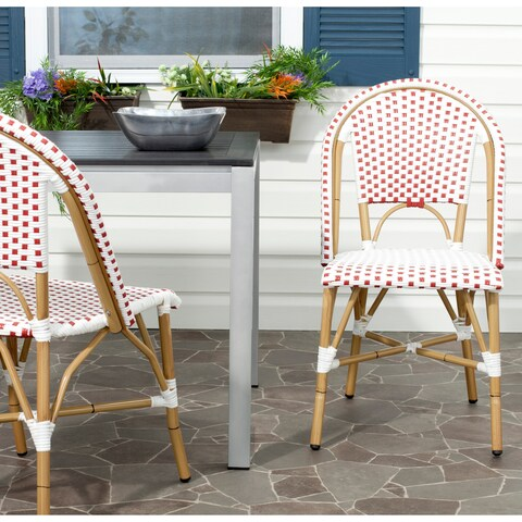 Safavieh Rural Woven Dining Salcha Blue/ White Indoor Outdoor Stackable Dining Chairs (Set of 2)