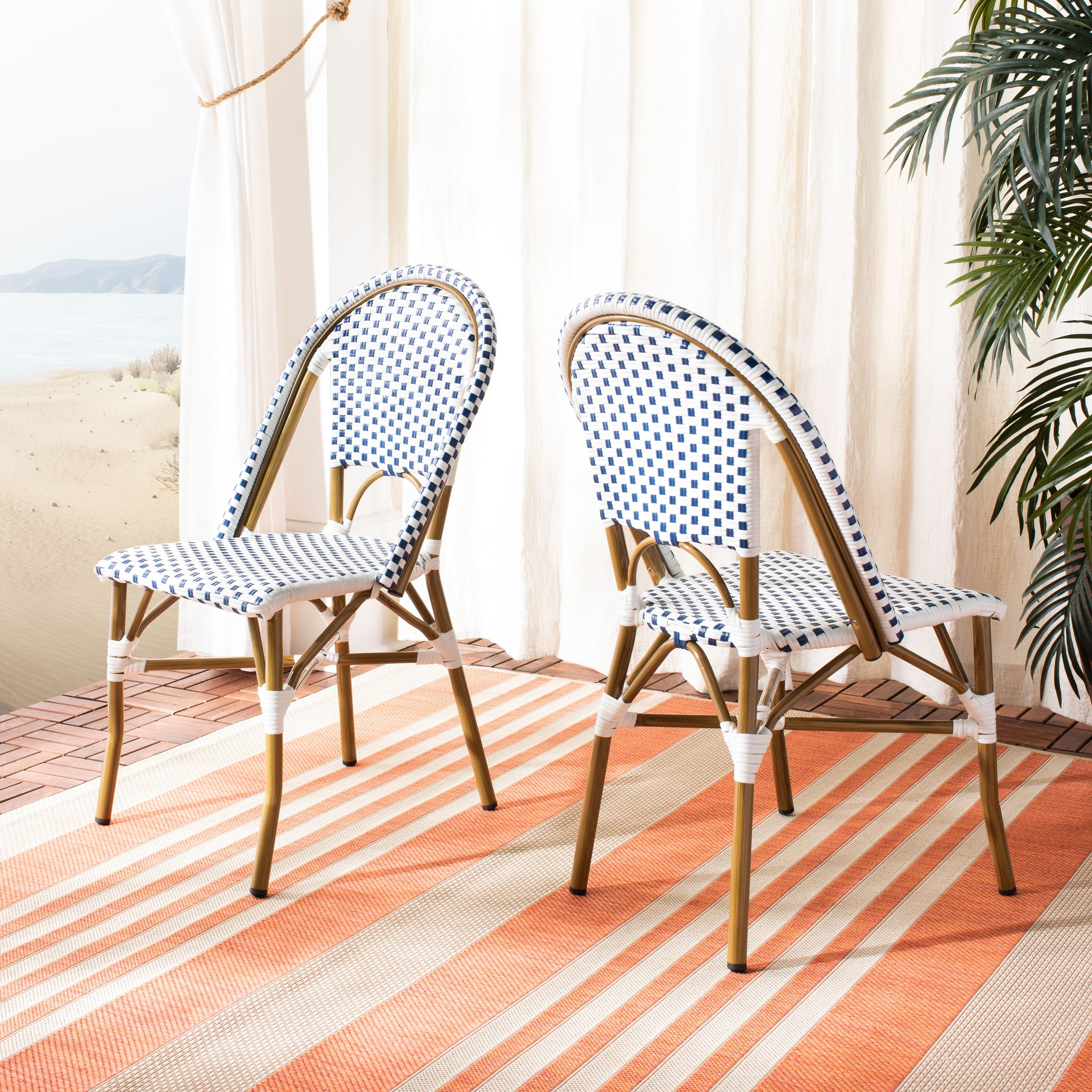 buy online 5f336 b46c4 Safavieh Dining Rural Woven Salcha Blue/ White Indoor/ Outdoor Stackable  Dining Chairs (Set of 2)