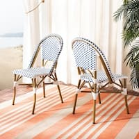 Safavieh Dining Rural Woven Salcha Blue/ White Indoor/ Outdoor Stackable Dining Chairs (Set of 2)