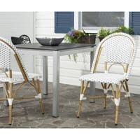 Safavieh Rural Woven Dining Salcha Grey/ White Indoor Outdoor Stackable Dining Chairs (Set of 2)