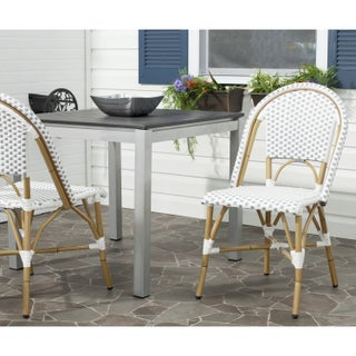 The Curated Nomad Guerrero Woven Grey/White Outdoor Stackable Chairs (Set of 2)