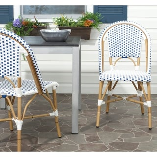 Safavieh Rural Woven Dining Salcha Red/ White Indoor Outdoor Stackable Dining Chairs (Set of 2)