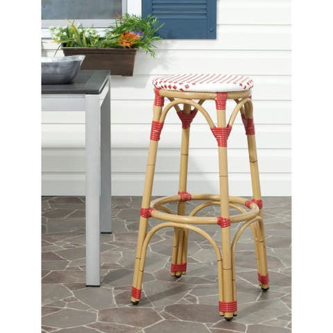 "Safavieh Kipnuk Red/ White Indoor Outdoor Stool - 20.5"" x 20.5"" x 30"""
