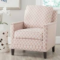 Safavieh Buckler Peach Pink/ White Polyester Fabric Club Chair
