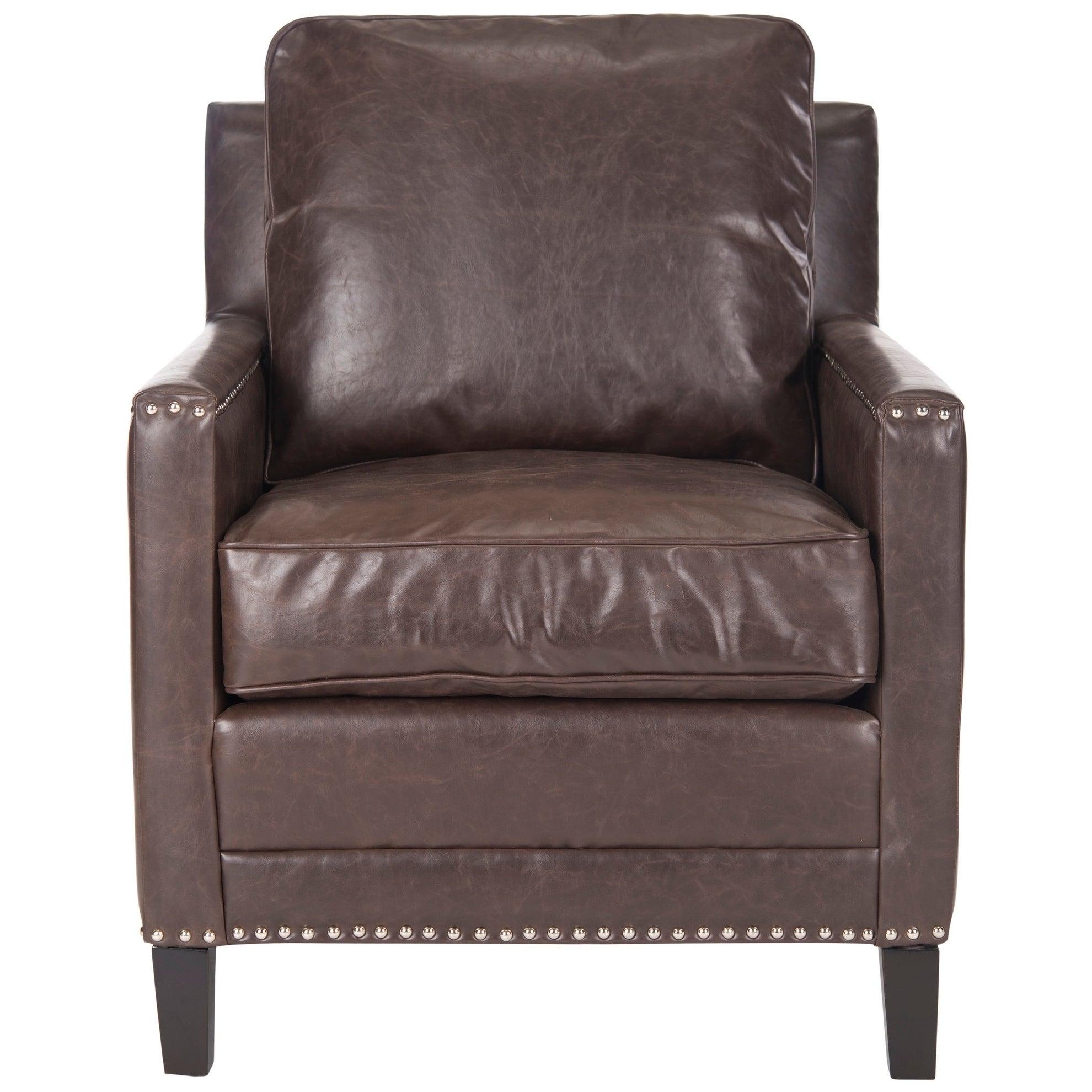 Beau Safavieh Buckler Antique Brown Club Chair