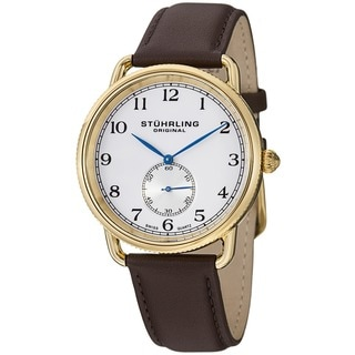 Stuhrling Original Men's Decor Swiss Quartz Brown-leather Strap Watch