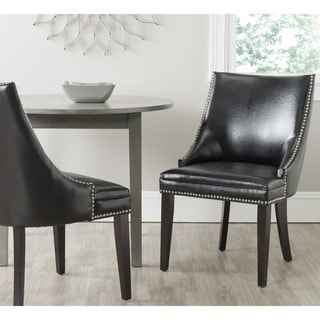Safavieh En Vogue Dining Afton Black Bicast Leather Dining Chairs (Set of 2)