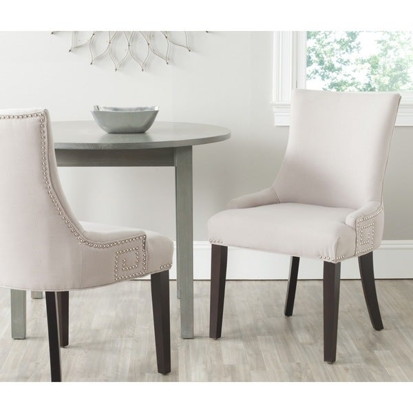 Safavieh En Vogue Dining Gretchen Taupe Linen Fabric Dining Chairs (Set Of  2)