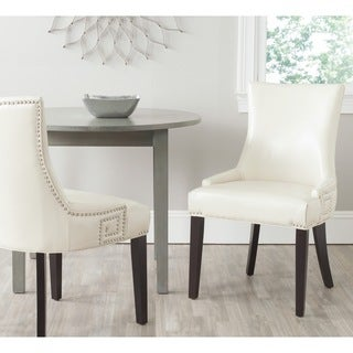 Safavieh En Vogue Dining Gretchen Flat Cream Bi-Cast Leather Side Chairs (Set of 2)