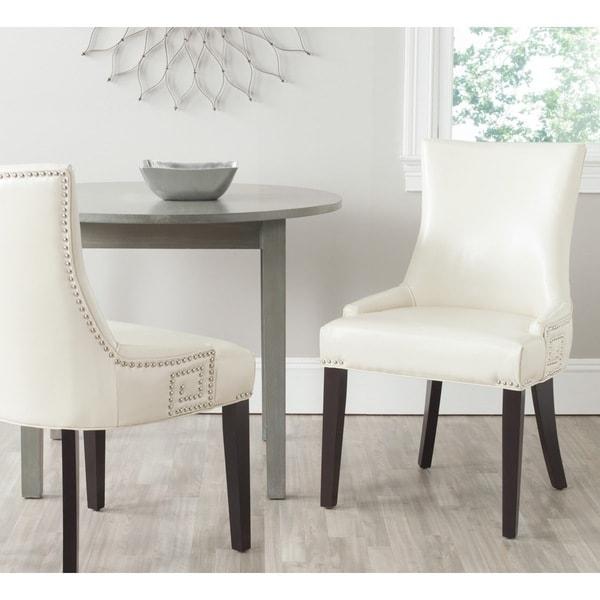 Safavieh En Vogue Dining Gretchen Flat Cream Bicast Leather Side Chairs (Set of 2)