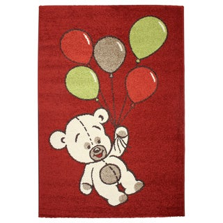 Magic Balloon Bear Red Area Rug (5'3 x 7'7)