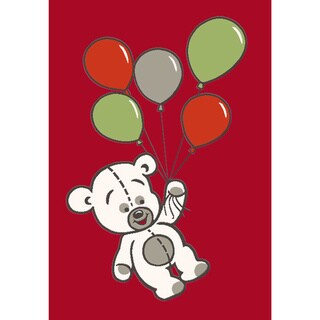 Magic Balloon Red Bear Rug (3'11 x 5'8)