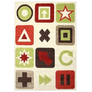Magic Symbols Beige Area Rug (3'11 x 5'7)