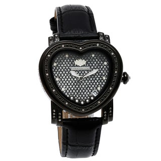 Luxurman Women's 1/4ct Black Diamond Heart Watch with Two Extra Leather Straps